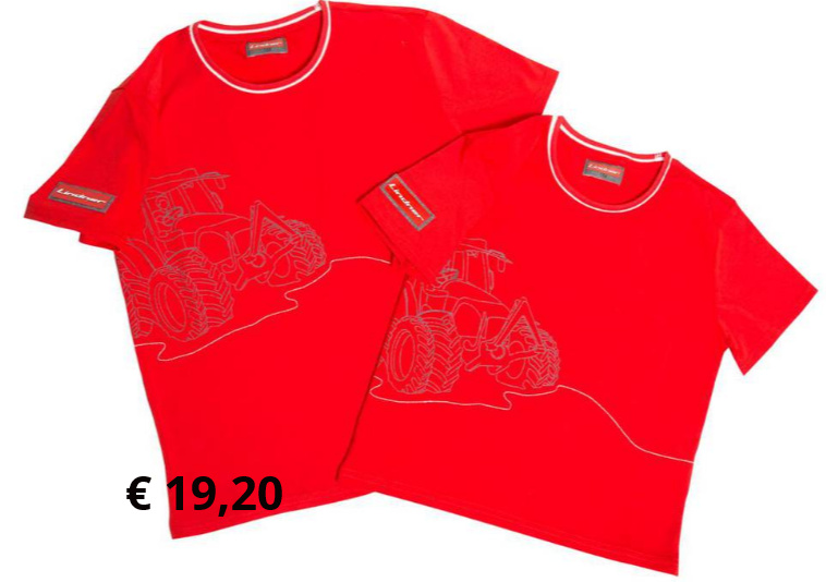 Kinder T-Shirt  Hochwertiges Baumwoll-T-Shirt  mit zweifärbigem Rundhals- Kragen, großer Traktor-Aufdruck  und Stickerei vorne, Lindner- Logo an Ärmel  Artikelnummer: 302205 € 19,20  Größe: 104