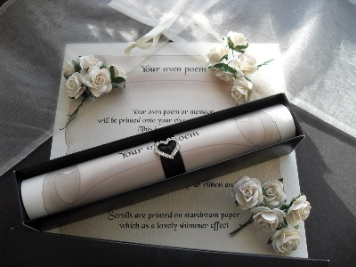 A4 scroll with heart diamante