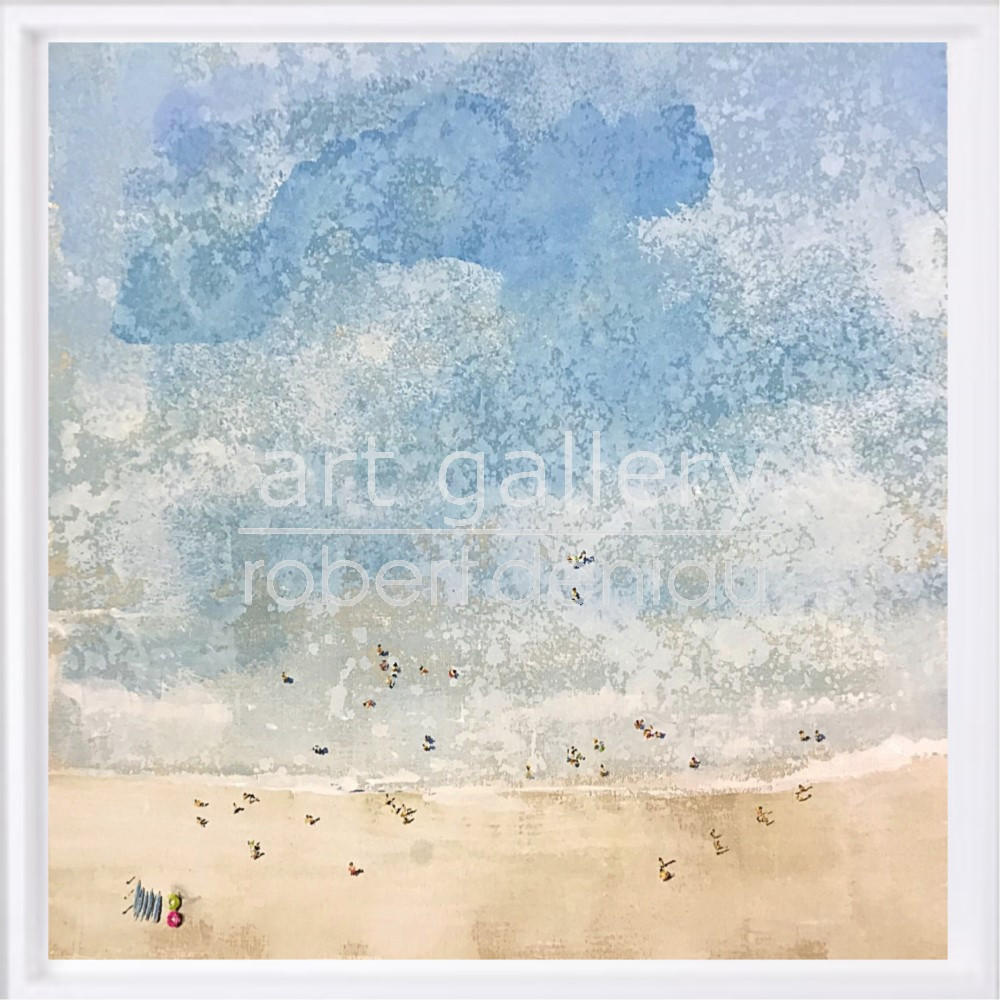 """SOLD """"People on the Beach"""" H60x60 cm - Framed 67x67 cm Mixed Media on canvas"""