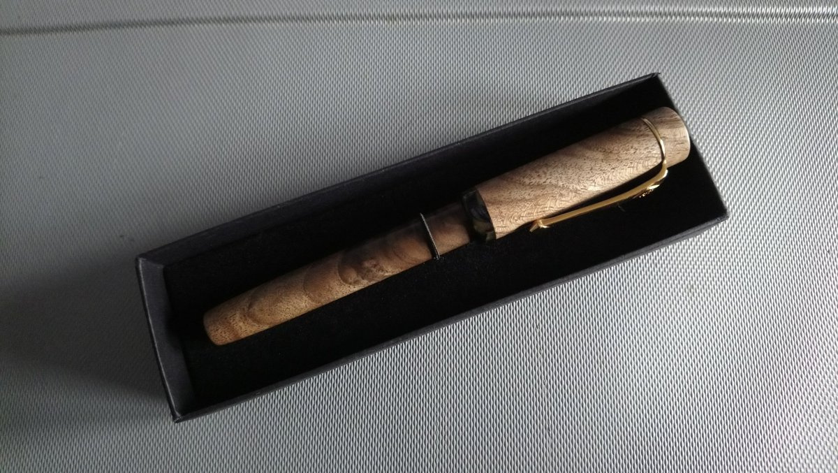 Fountain pen made from English Walnut in presentation box