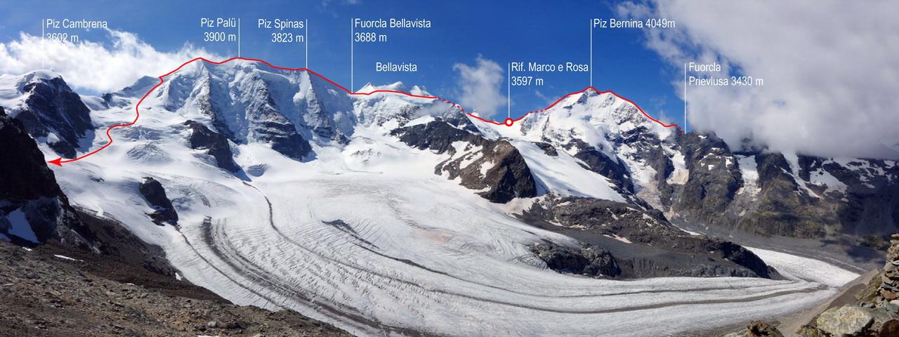 Von der Marco e Rosa Hütte über den Spallagrat auf den Piz Bernina
