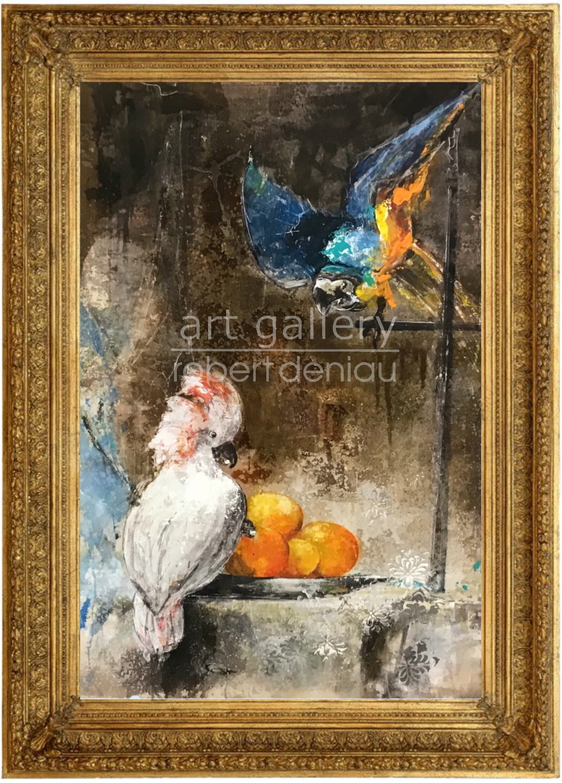 Parrots Party H106x69 cm - Framed H130x92x7 cm Mixed Media on canvas