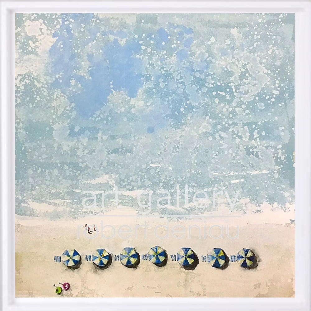 """7 Umbrellas"" H60x60 cm - Framed 67x67 cm Mixed Media on canvas"