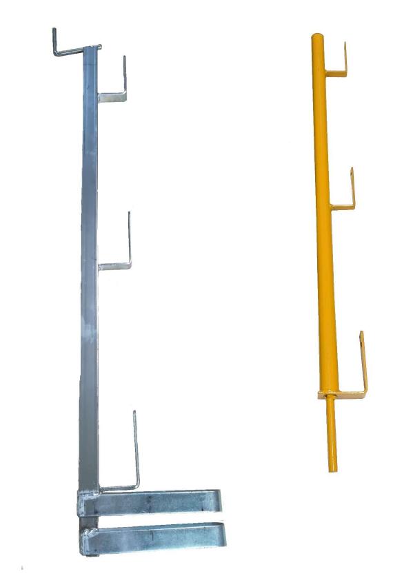 - Guarda corpos zincado  AB. 550mm & 700mm - Prumos de segurança pintado  amarelo com espigão