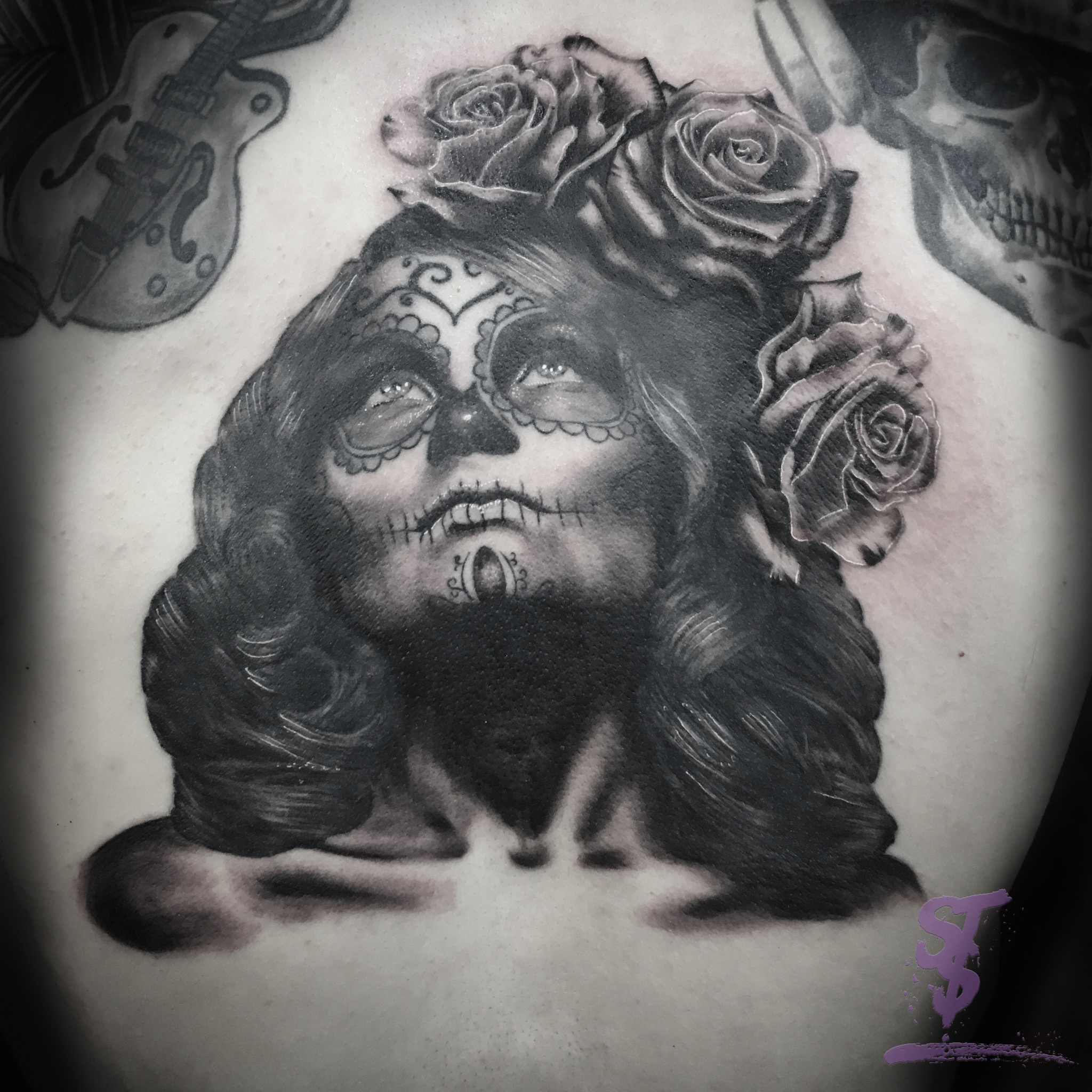 Maske portrait frau santa catarina Tattoo