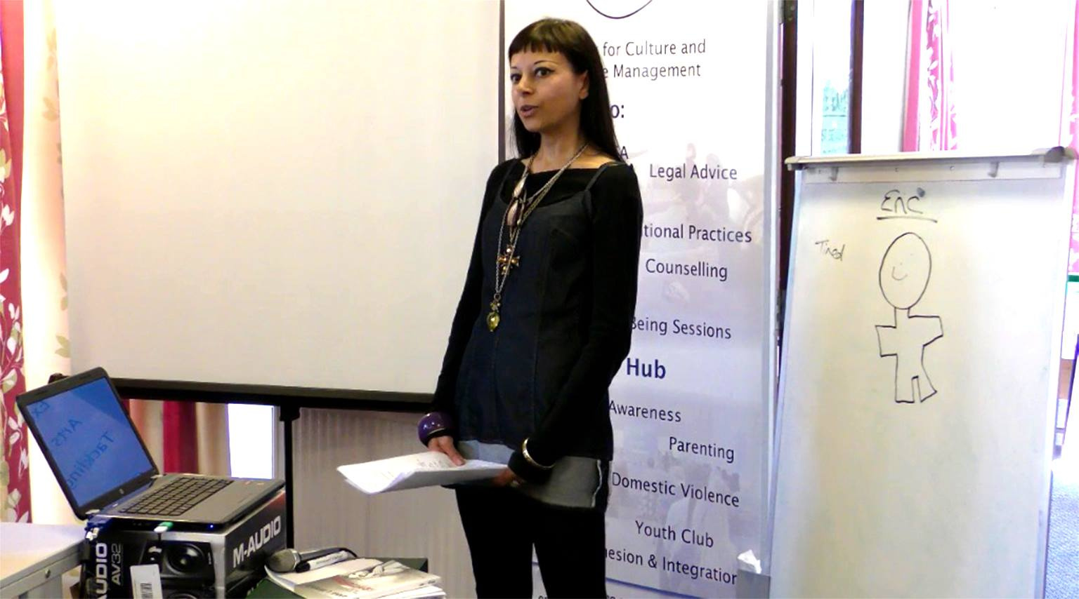 Anna Bragga speaking at ACCM UK's Happy Mindfulness Event October 2018