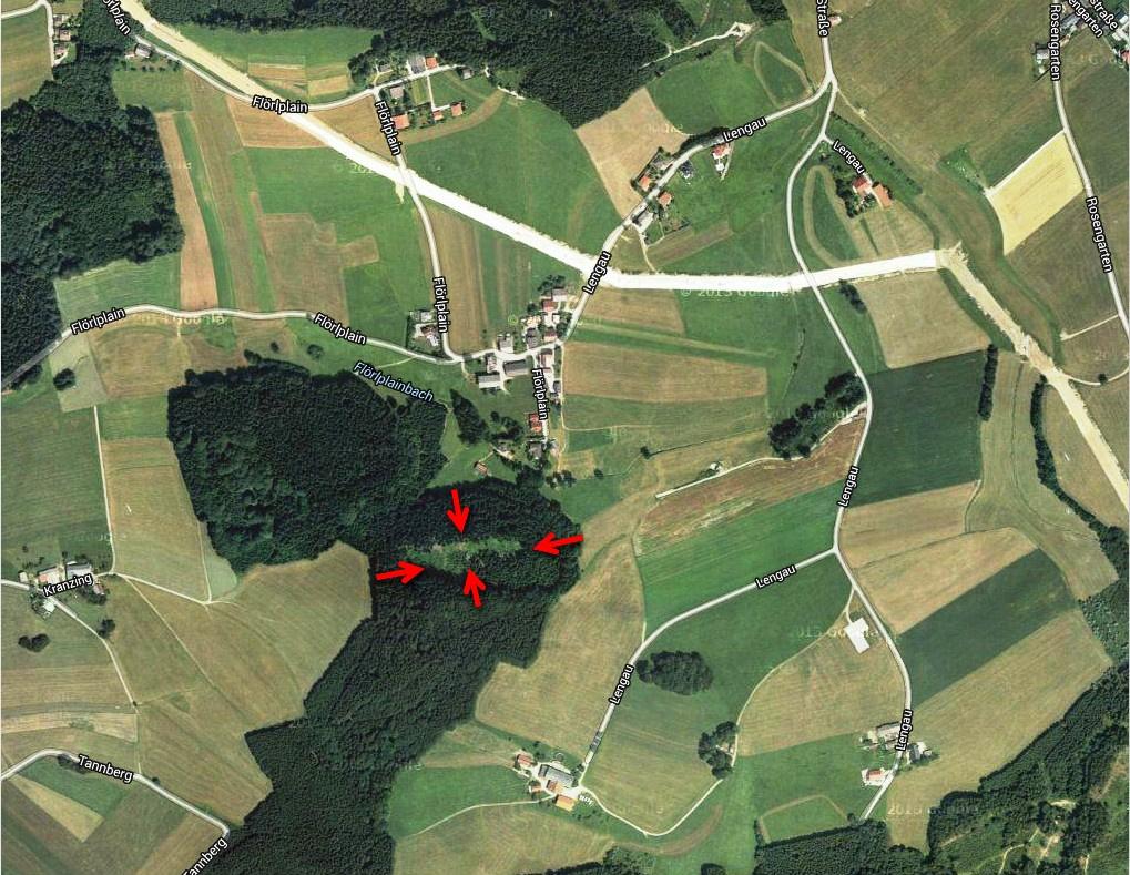 Lage der historischen Siedlung im Wald bei der Ortschaft Flörlplain - Lengau