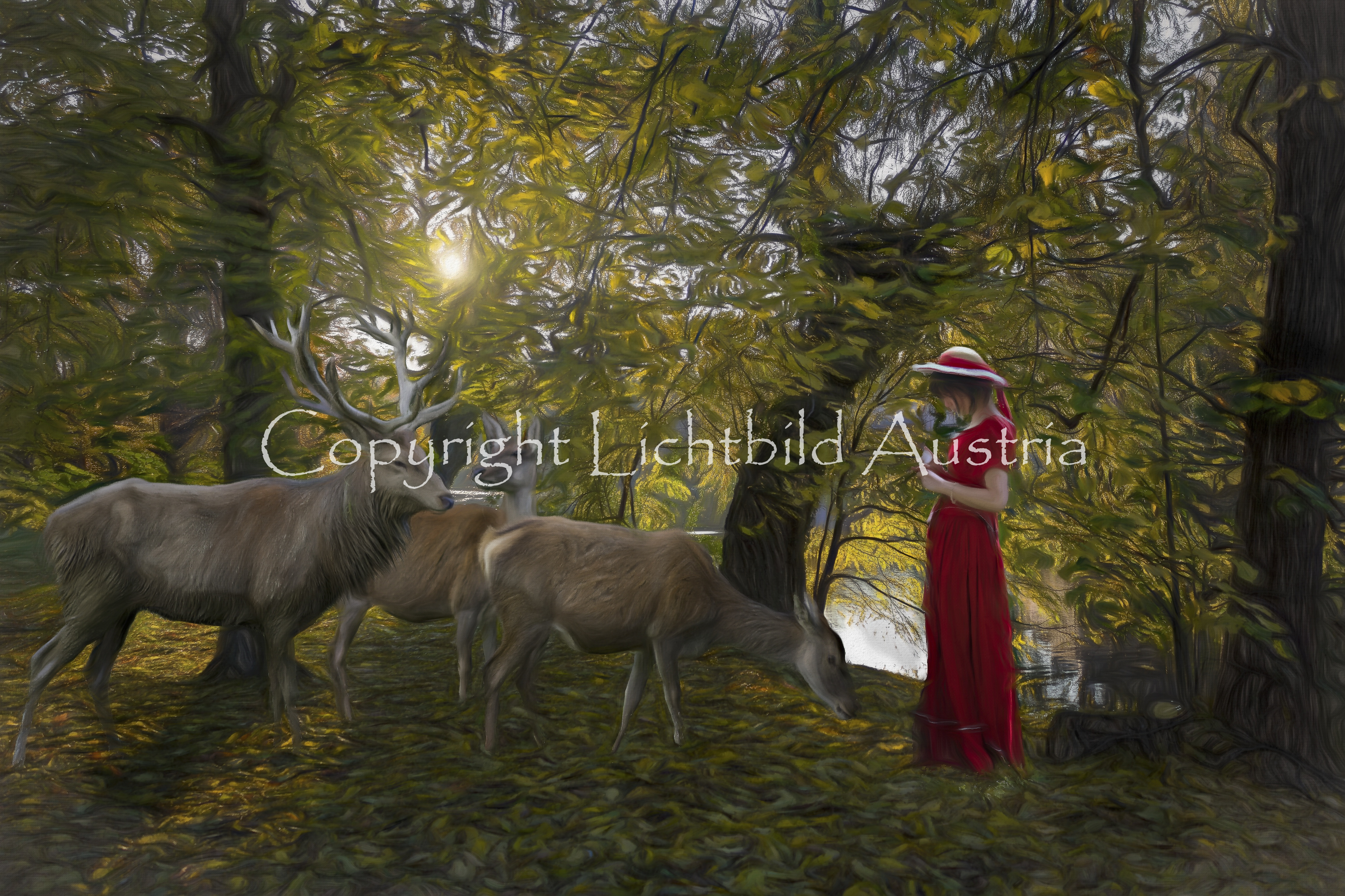 Mädchen mit Hirschen