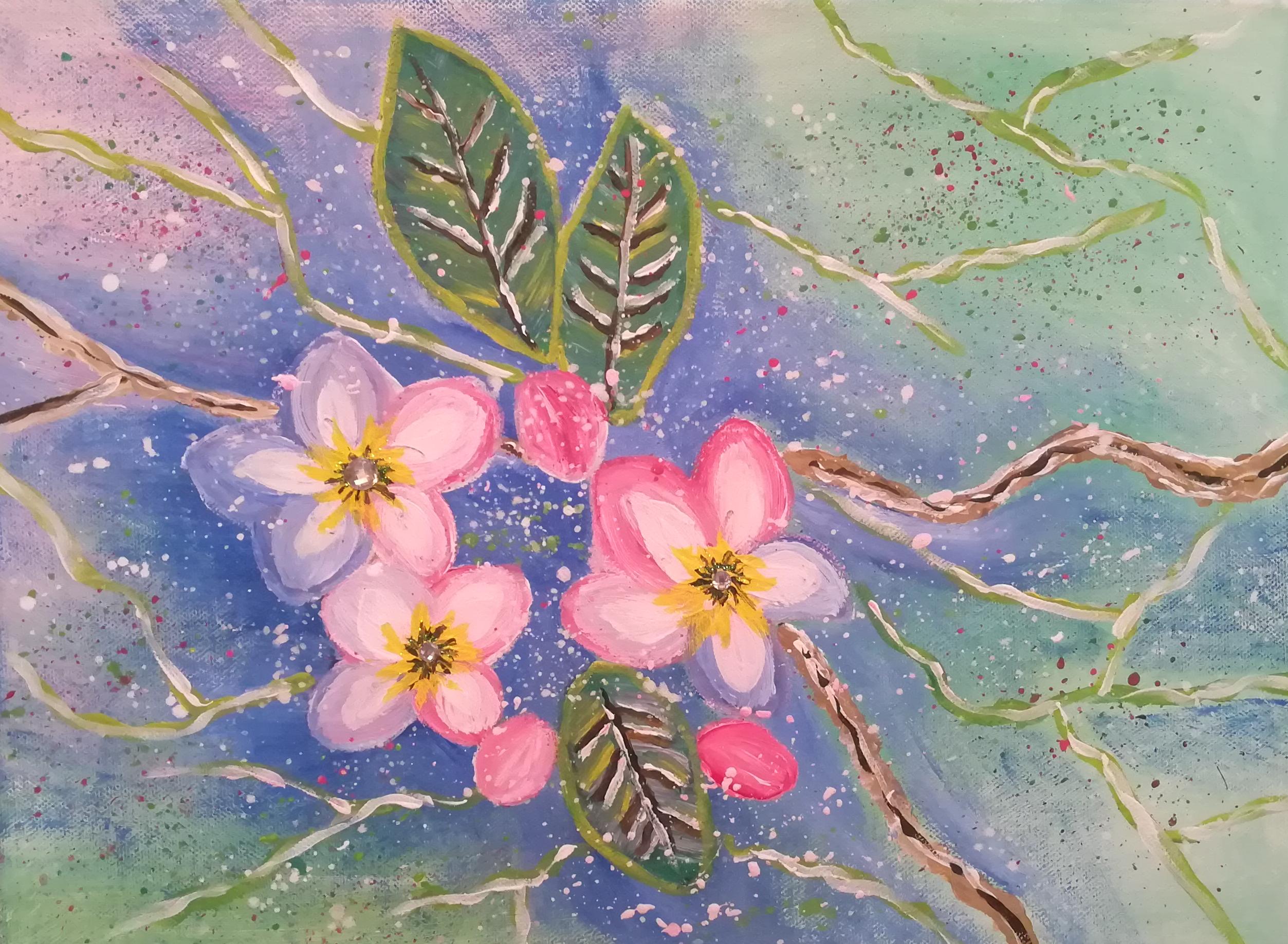 Kirschblüten mit drei Strasssteine 40 cm x 30 cm  Preis 65 Euro