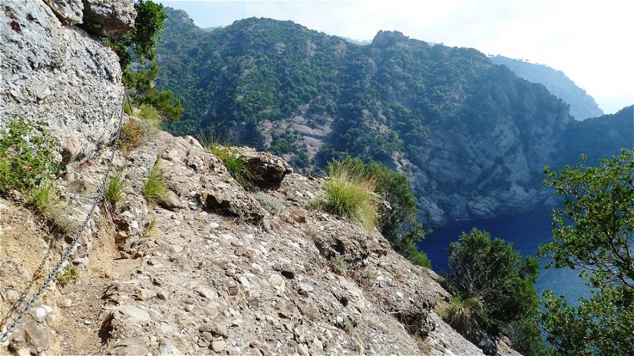 An der Felswand entlang