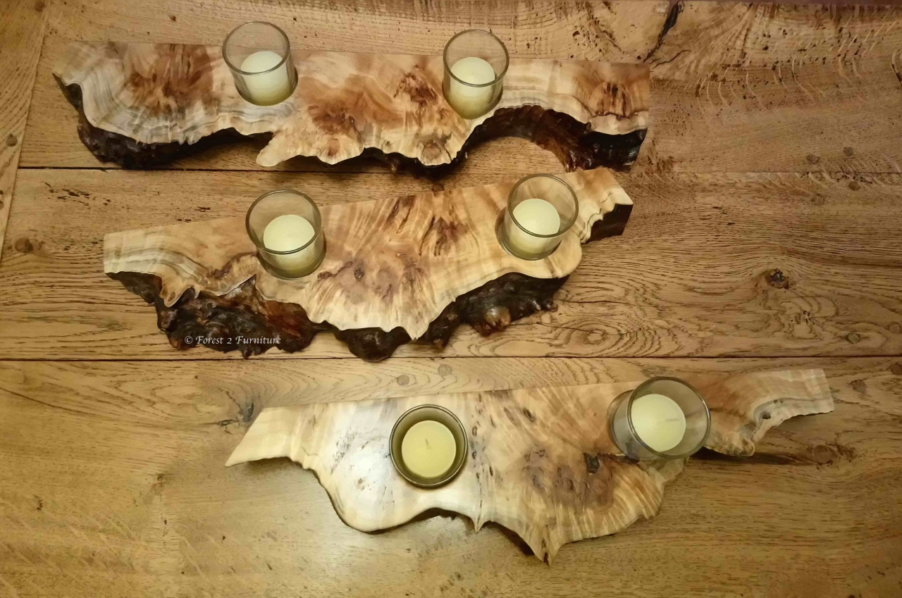 three wooden T-lite holders in burr poplar