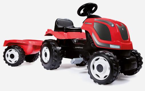 Kindertrettraktor im LINTRAC- Design  mit Anhänger, Hupe und  Motorhaube zum Öffnen!  Der Kinder-Trettraktor im LINTRAC-Design begeistert auch  schon die jüngsten Traktor-Piloten.  Der robuste Anhänger kann leicht  an- und abgekuppelt werden. Für  sicheres Arbeiten ist der kleine  Lintrac mit einer Hupe ausgestattet.  Für Wartungsarbeiten kann die  Motorhaube leicht geöffnet und  arretiert werden.  Das Gespann beinhaltet einen  großen Anhänger mit geräumiger  Ladefläche, der mit bis zu 25 kg  belastbar ist.   Artikelnummer: 3010591 € 99,-