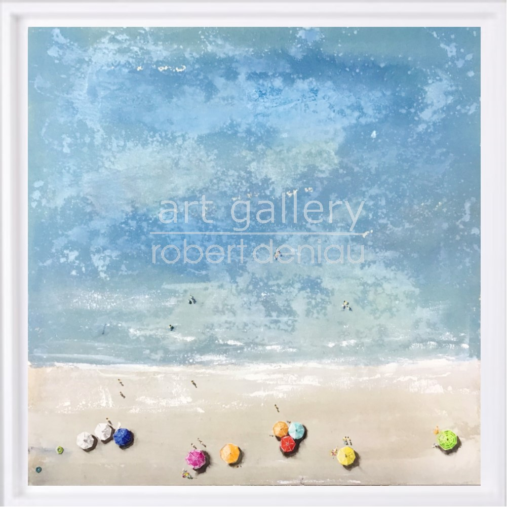 Spiaggia H100x100 cm - Framed 107x107 cm Mixed Media on canvas