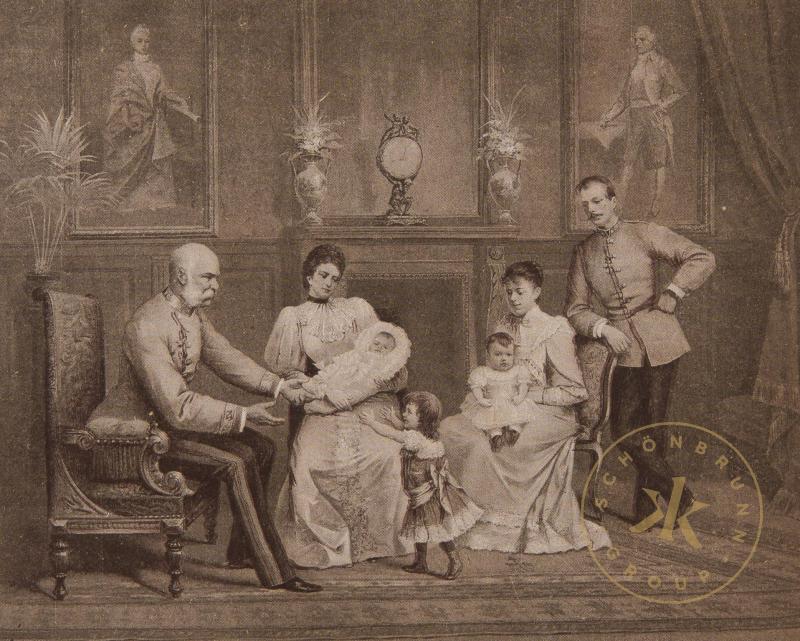 Franz Joseph und Elisabeth mit Marie Valerie, Franz Salvator und ihren Kindern