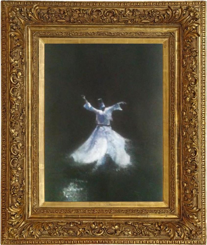"""SOLD - ON REQUEST """"Dervish"""" technique mixte sur toile - vintage gilded frame"""