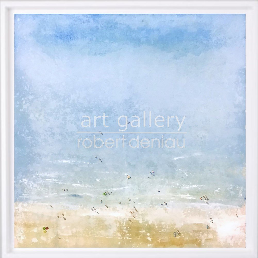 Beach H100x100 cm - Framed 107x107 cm Mixed Media on canvas