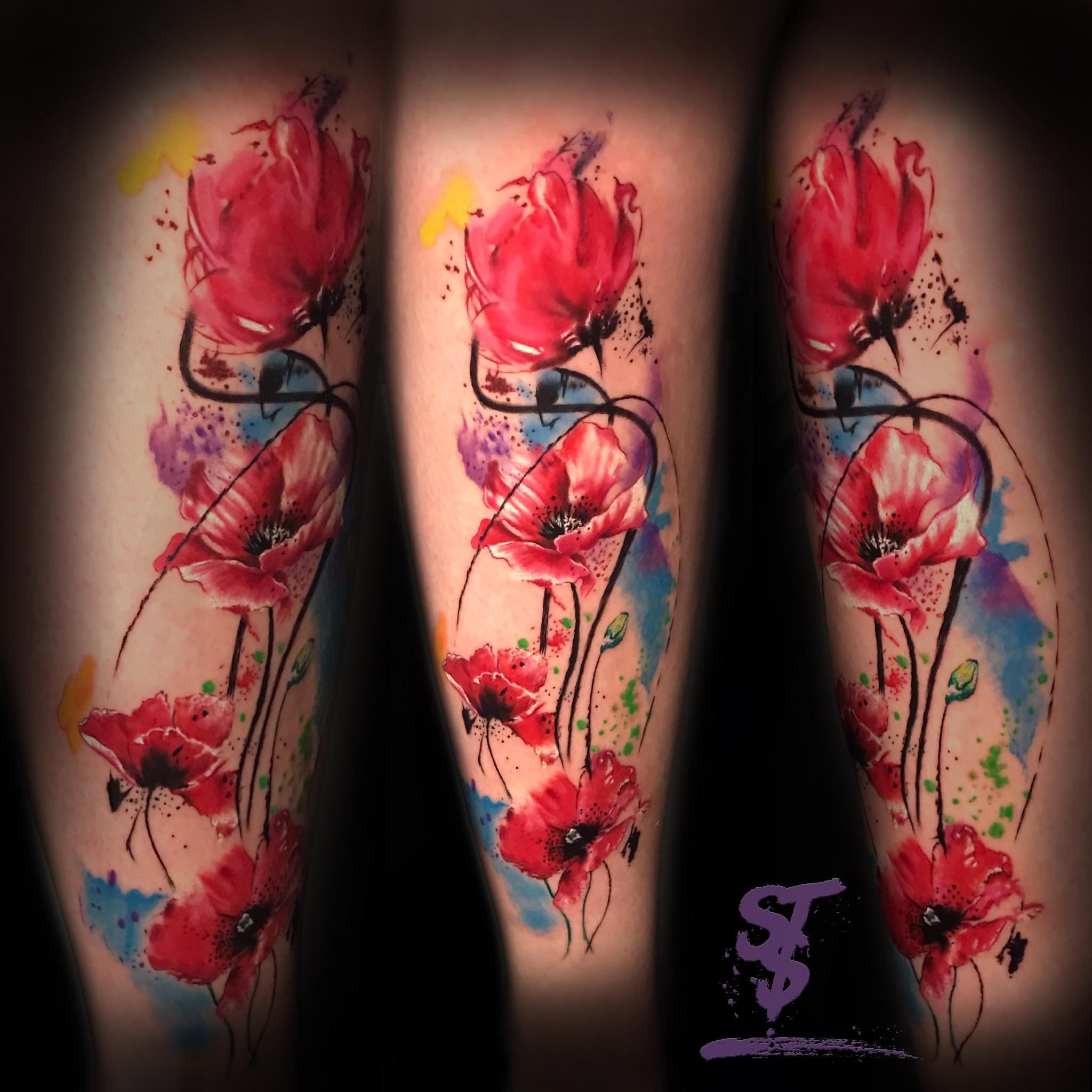 Mohnblume Blume Tattoo Watercolor modern