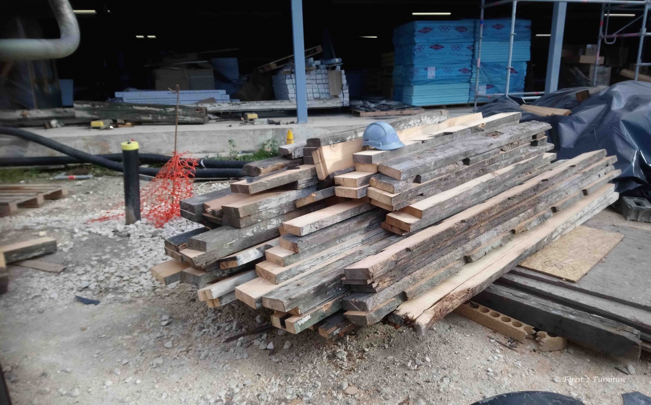 Useful timber milled from old Pine roof trusses and timbers