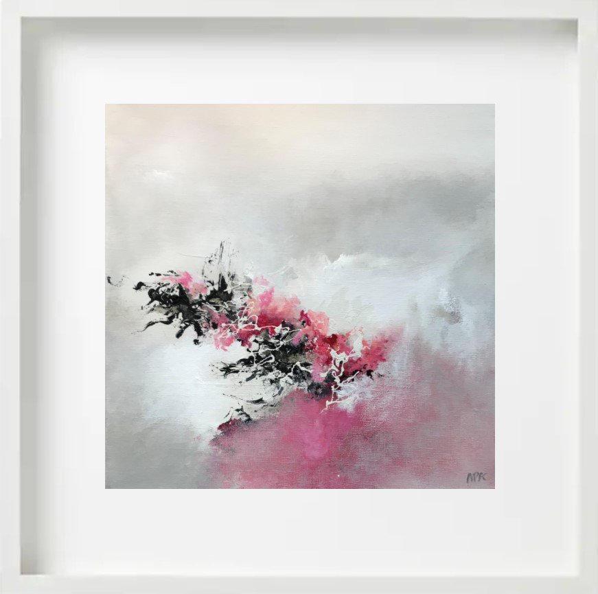 """""""Trace de Soie"""" H40x40 cm - Framed 52x52 cm - Acrylic on canvas -"""