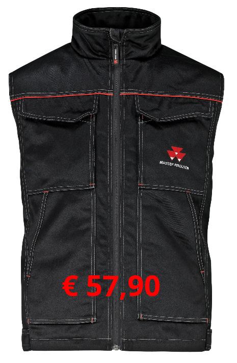 Isolierte Weste, schwarz mit roten  Kontrastelementen. 2  Seitentaschen. Innentaschen mit  Klettverschluss. Brusttaschen mit  Druckknopfverschluss. Klettriemen  zur Größenanpassung am unteren  Saum. Material: 65% Polyester /  35% Baumwolle / 300 g/m²  Artikelnummer: X993050586          € 57,90  Größen: XS-XXXL