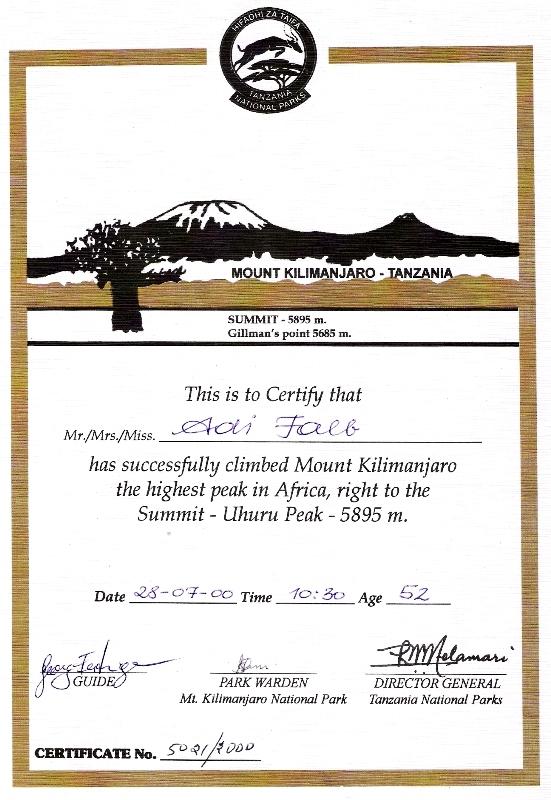 Besteigungs-Zertifikat